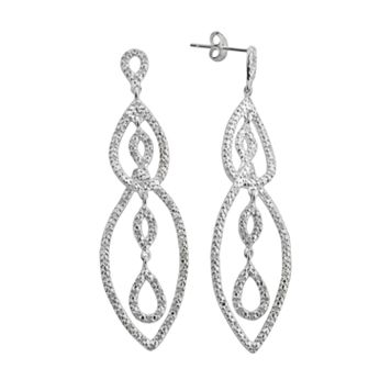 Sterling Silver 1/2-ct. T.W. Diamond Link Linear Drop Earrings