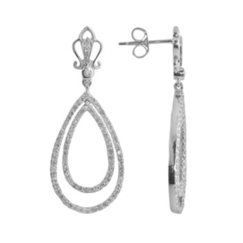 Sterling Silver 1-ct. T.W. Diamond Teardrop Earrings