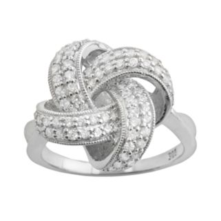 Sterling Silver 1-ct. T.W. Diamond Knot Ring