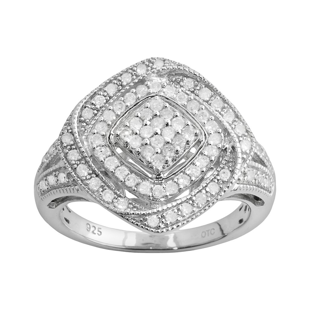 Sterling Silver 1/2-ct. T.W. Diamond Openwork Square Ring