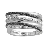 Silver Plate 1/10 ctT.W. Black & White Diamond Crisscross Stack Ring Set