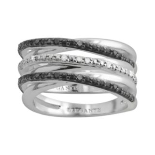 Silver Plate 1/10-ct. T.W. Black and White Diamond Crisscross Stack Ring Set