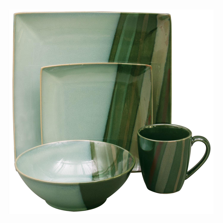 Sango Avanti Green 16-pc. Square Dinnerware Set - $89.99
