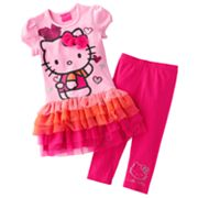 Hello Kitty Heart Tutu Tunic and Leggings Set - Girls 4-7