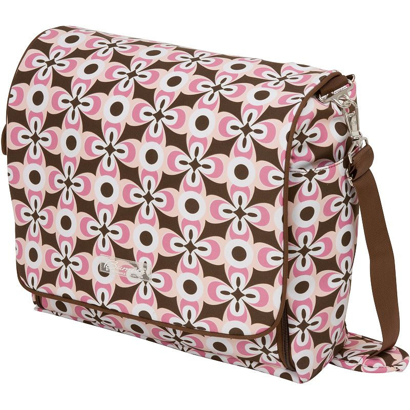 The Bumble Collection Jessica Messenger Diaper Bag - Floral Geo, Pink
