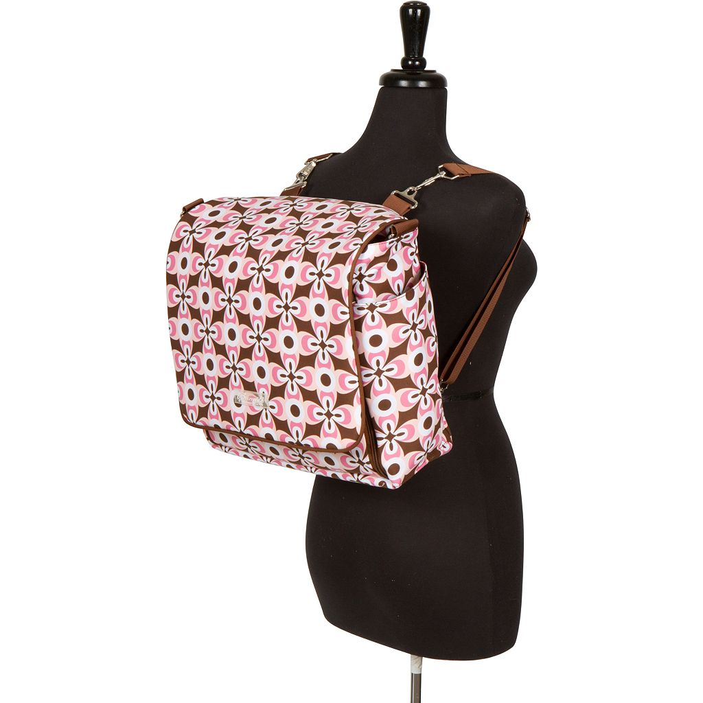 The Bumble Collection Jessica Messenger Diaper Bag - Floral Geo