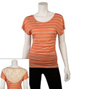IZ Byer California Striped Lace Back Top - Juniors