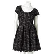 ELLE Polka-Dot Fit and Flare Ponte Dress