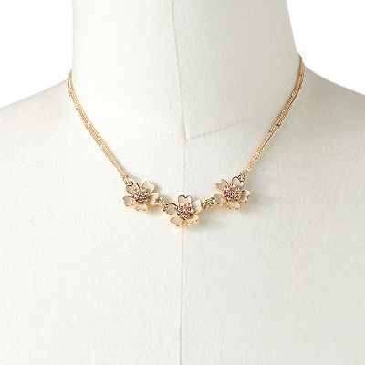 LC Lauren Conrad Gold Tone Simulated Crystal Flower Necklace