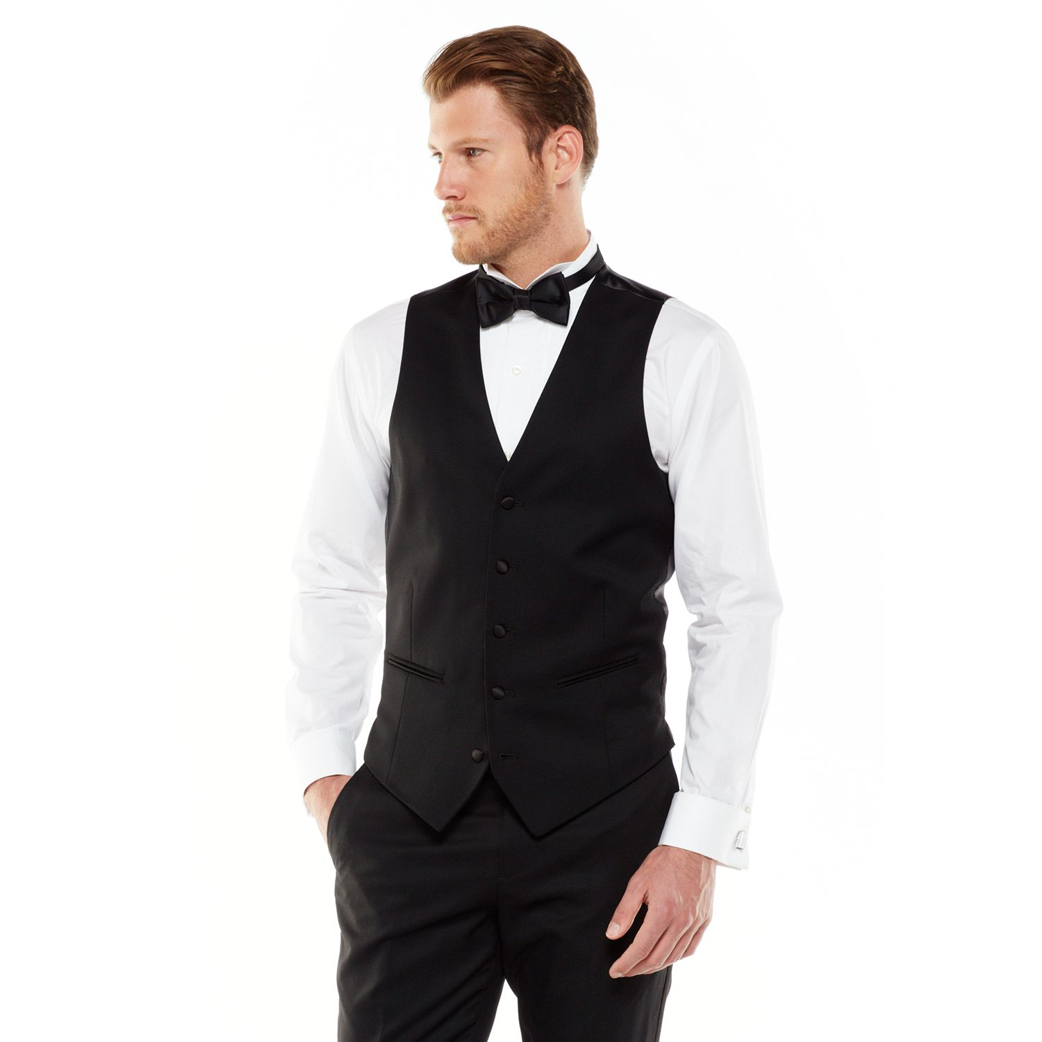 Sale Marc Anthony Modern Fit Wool Black Tuxedo Vest