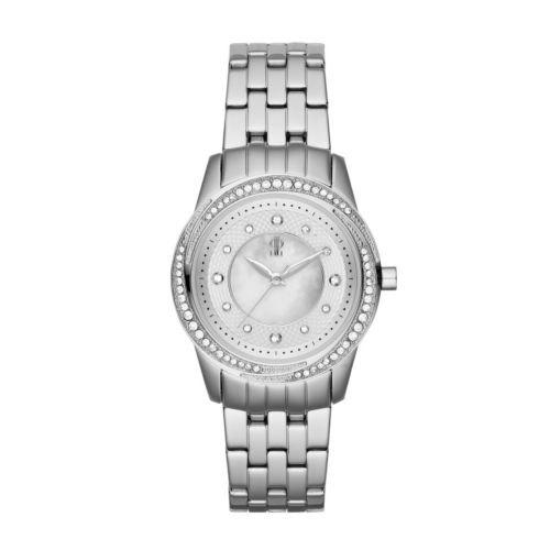 Jennifer Lopez Stainless Steel Crystal and Mother-of-Pearl Watch - Women
