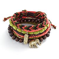 Mudd® Gold Tone Bead & Elephant Charm Woven & Stretch Bracelet Set