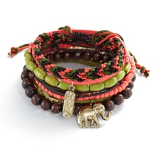 Mudd® Gold Tone Bead and Elephant Charm Woven and Stretch Bracelet Set
