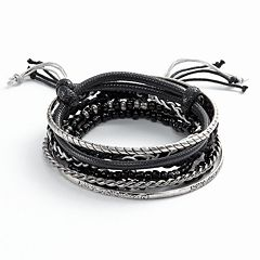 Mudd® Two Tone Bead Stretch, Twist Bangle & Woven Bracelet Set