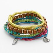 Mudd Two Tone Bead and Charm Stretch and Woven Bracelet Set