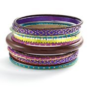 Mudd Two Tone Wood, Textured and Glitter Bangle Bracelet Set