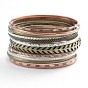 Mudd Tri-Tone Twist and Textured Bangle Bracelet Set