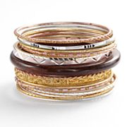Mudd Tri-Tone Wood and Textured Bangle Bracelet Set