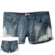 Mudd Crochet Denim Shorts - Girls 7-16