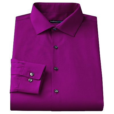 Van Heusen Studio Slim-Fit Solid Stretch Spread-Collar Dress Shirt