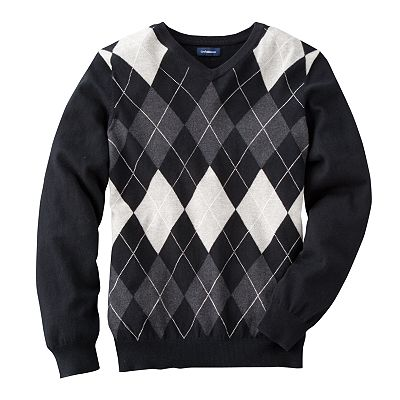 Croft and Barrow Argyle V-Neck Sweater
