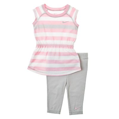 Nike Striped Tunic and Capri Leggings Set - Toddler