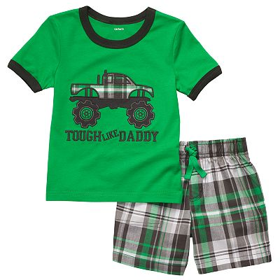 Carter's Monster Truck Tee and Plaid Shorts Set - Toddler