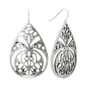 Mudd Silver Tone Filigree Teardrop Earrings