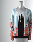 Simply Vera Vera Wang Striped Floral Cardigan