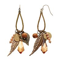 Mudd® Bead & Textured Leaf Drop Earrings