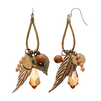 Mudd® Bead & Textured Leaf Drop Earrings