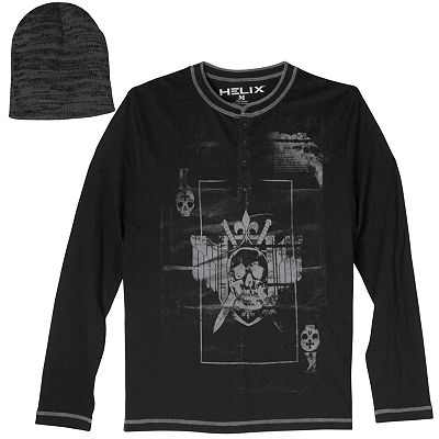 Helix Skull Henley and Beanie Set - Men