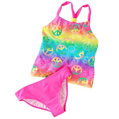 SO Neon Peace Sign 2-pc. Tankini Swimsuit Set - Girls Plus