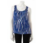 Dana Buchman Zebra Pleated Charmeuse Top