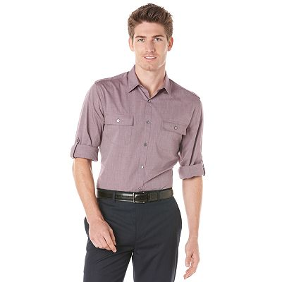 Axist Slim-Fit Military Casual Button-Down Shirt - Big and Tall