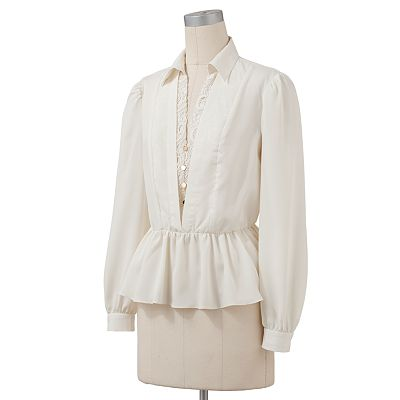 ELLE Mock-Layer Crepe Blouse