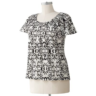 ELLE Medallion Basket-Weave Top - Women's Plus