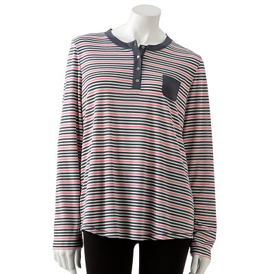Croft and Barrow Elements of Surprise Striped Pajama Henley