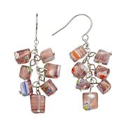 Sterling Silver Artisan Glass Cluster Drop Earrings