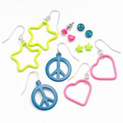 SO Heart, Star and Peace Sign Stud and Drop Earring Set