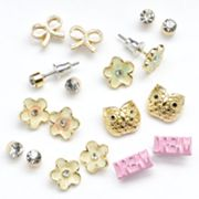 SO Gold Tone Simulated Crystal Textured Flower, Owl, Bow and Dream Stud Earring Set