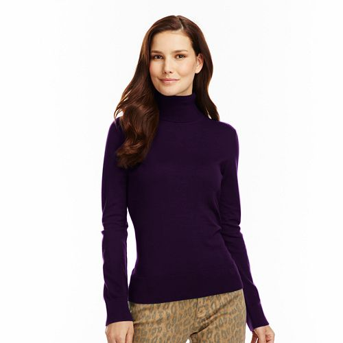 Women's Chaps Solid Turtleneck Sweater