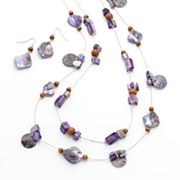 SONOMA life + style Bead Long Multistrand Necklace and Drop Earring Set
