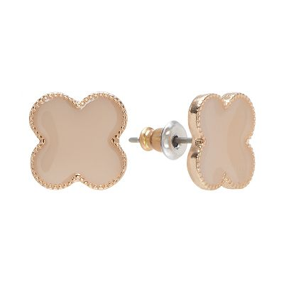 LC Lauren Conrad Gold Tone Clover Button Stud Earrings