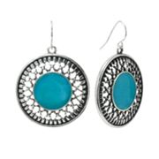 SONOMA life + style Silver Tone Openwork Textured Disc Drop Earrings