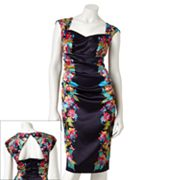 Suite 7 Floral Satin Sheath Dress