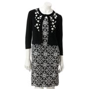 Jessica Howard Medallion Sheath Dress and Cardigan Set
