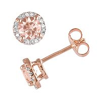 Pink Rhodium-Plated Sterling Silver Morganite & Diamond Accent Halo Stud Earrings