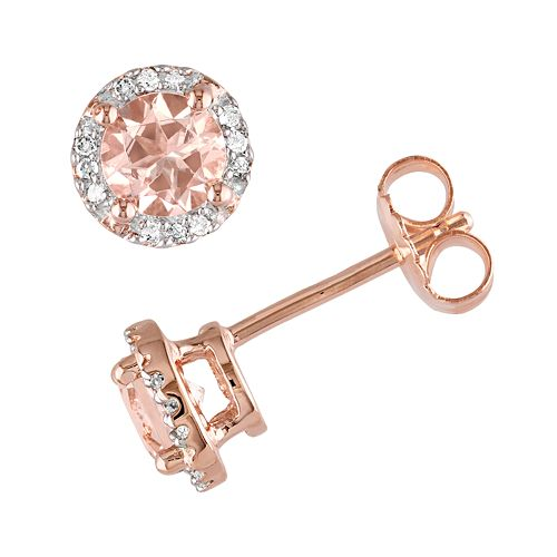 Stella Grace Pink Rhodium-Plated Sterling Silver Morganite and Diamond Accent Halo Stud Earrings