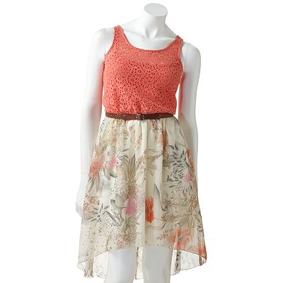 City Triangles Mixed-Media Floral Dress - Juniors
